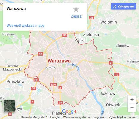 Mapa Google naprawa spłuczki Warszawa
